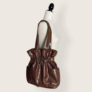 Brown Crocodile Shiny Faux Leather Scrunch Bag
